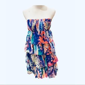 Forever 21 Colorful Waterfall Ruffle Dress M Blue
